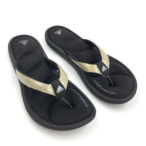 Adidas Fitfoam Gold Glitter Sparkle Flip Flops 8